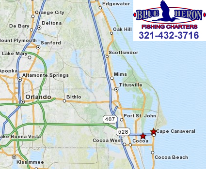 Blue Heron Charters - Cape Canaveral, Florida on map showing port canaveral florida, map showing cape canaveral, hotel cape canaveral fl, map florida fl, map sarasota fl, weather cape canaveral fl, map of cape canaveral area,